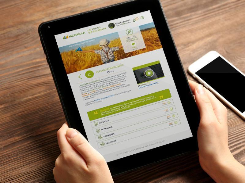 Iberdrola 12 valores é a ferramenta digital de comunicação interna desenvolvida pelo gerenciamento.