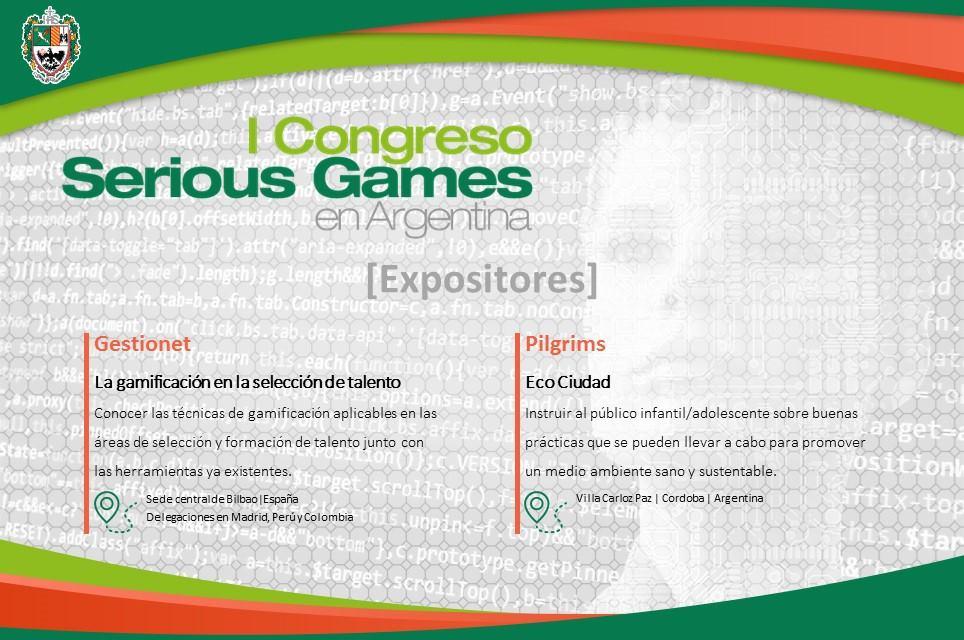 Cartel del I Congreso Serious Games en Argentina, donde participará Gestionet.
