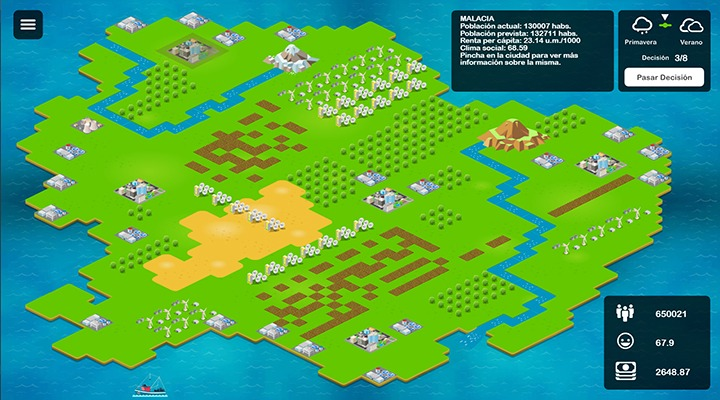 Imagen de la Isla, el simulador empresarial que Gestionet emplea para formar a los más jóvenes contra el fraude fiscal.