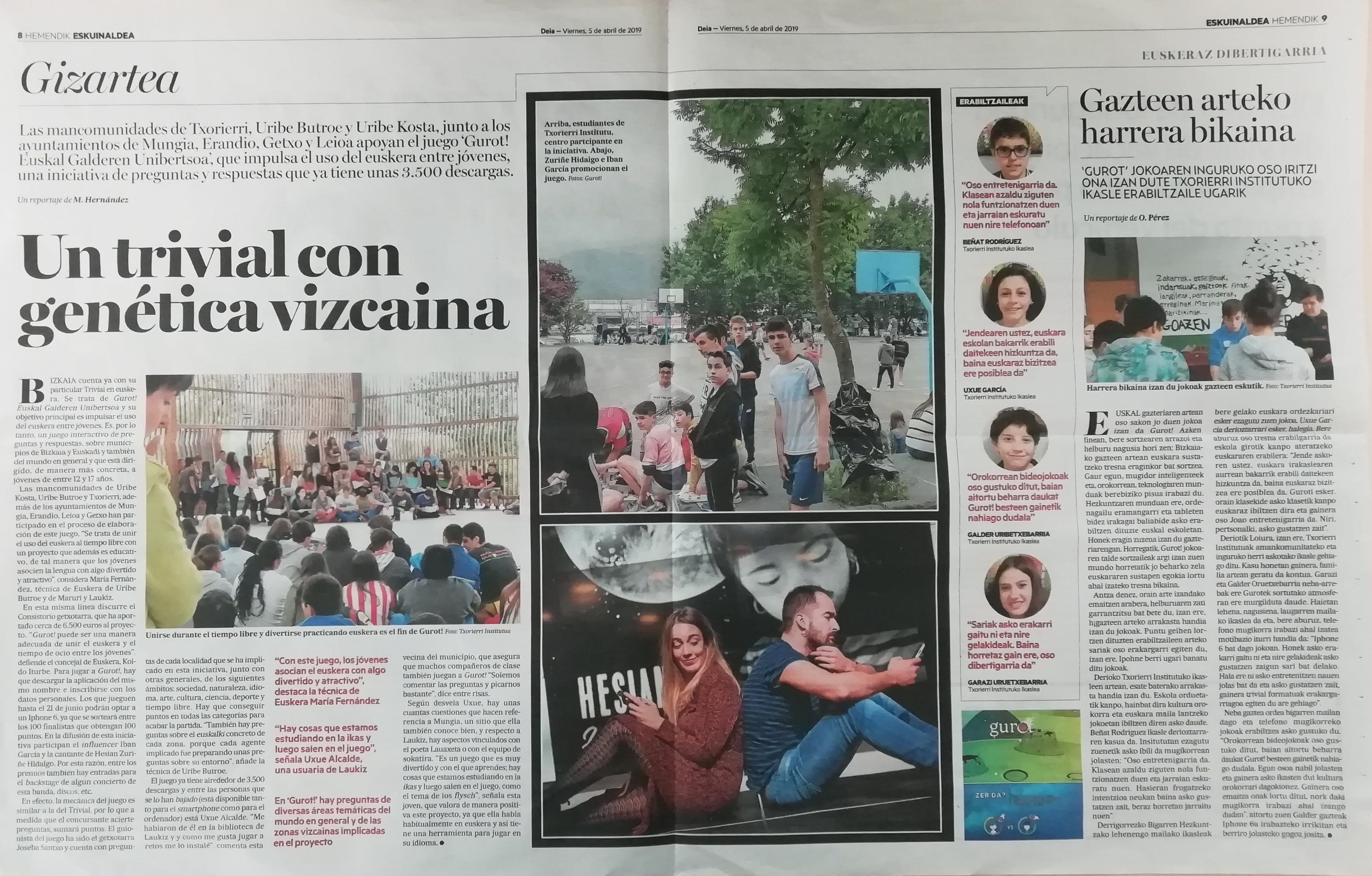 Fotografría del reportaje que el diario vasco Deia publicó sobre Gurot!, el trivial de Gestionet que fomenta el uso del euskera.